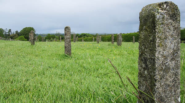 Small stone markers outside the burial mound at Newgrange in Ireland. (Photo by Jennifer Robinson)